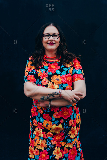 Portrait of pretty plus size middle aged woman