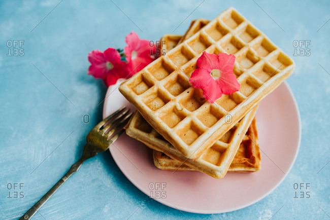 Close up shot of waffles on a plate on a blue background