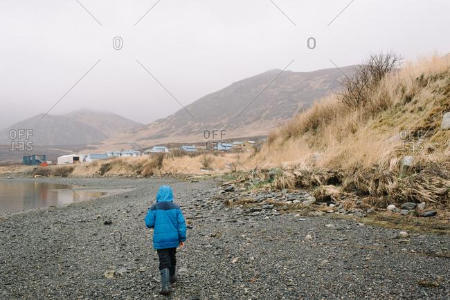 Boy exploring rural Alaska