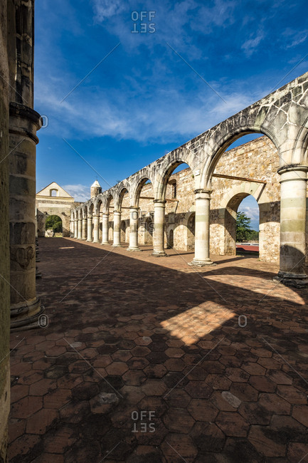 Stone Archways In The 16Th Century Convent of Cuilapan The Former Monastery of Santiago Apostol, Cuilapan De Guerrero, Mexico Near Oaxaca