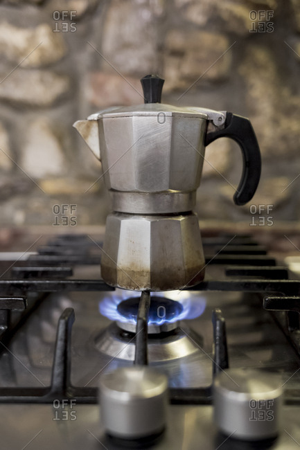 Coffee brewing on gas range