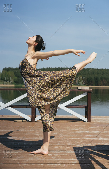 Dancer on a lake dock