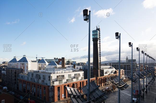 Dublin, Ireland - 30 November, 2017: Overlooking Smithfield Square and Jameson Distillery