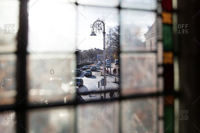Dublin, Ireland - 01 December, 2017: Street in Dublin seen from open church window