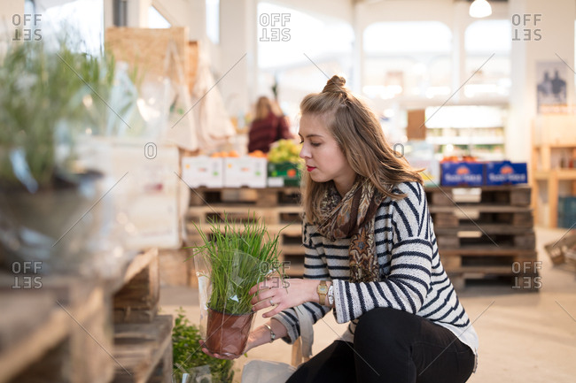 Woman checking fresh herbs at organic grocery store