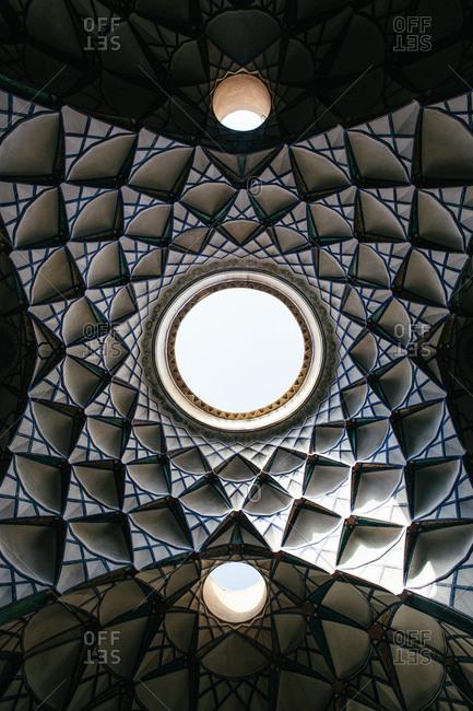 Kashan, Iran - October 11, 2017: Beautiful ceiling of the historic Borujerdi House