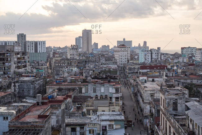 Havana, Cuba - March 23, 2015: High angle view of jumbled weathered buildings of the city