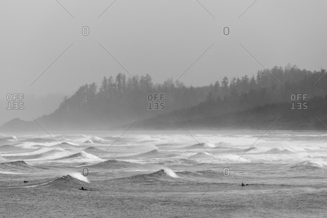 Surfers paddling out into confused peaky seas as rain and fog obscure landscape in background