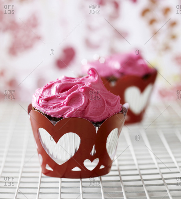 Pink Cupcake with Hearts