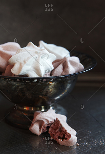 Meringue in a silver dish