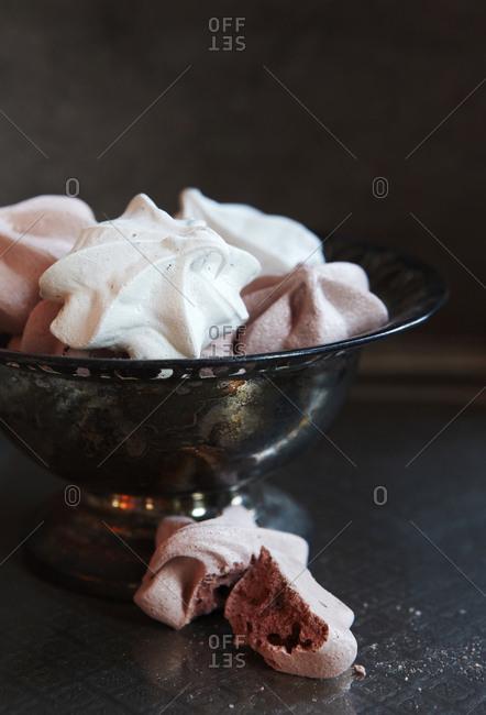 Meringue in a silver dish