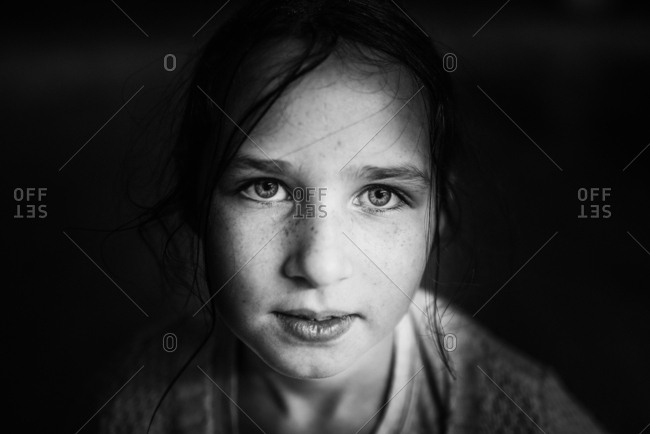 Monochrome portrait of a young girl