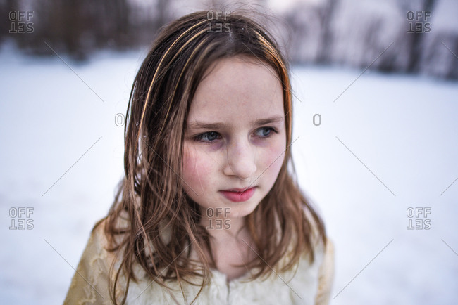 Portrait of a girl outdoors in winter