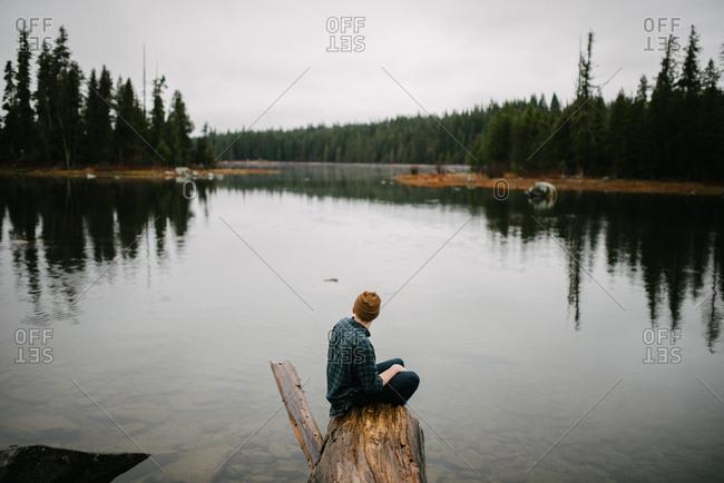 Man sitting on log overlooking lake