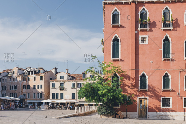 Buildings and town square in Venice, Italy