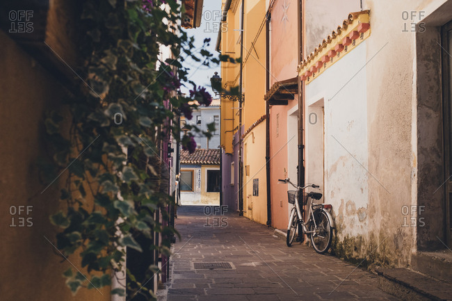 Caorle, Italy - July 10, 2017: Bike parked in alley