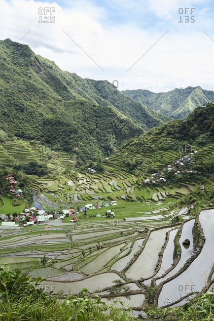 View of valley Batad surrounded by rice terraces and houses. Batad, Philippines.
