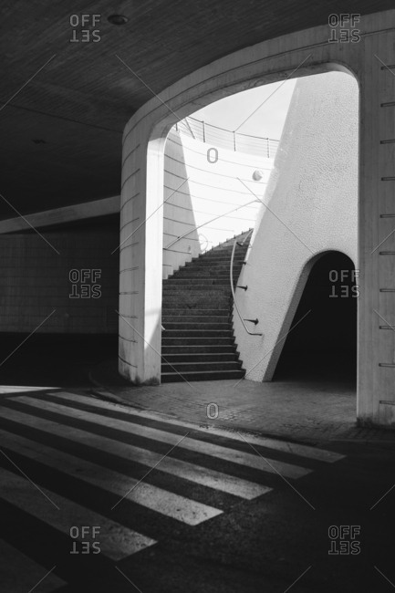 Crosswalk and staircase inside parking structure in Valencia, Spain
