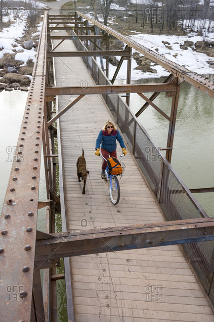Pet dog running beside adult woman riding bicycle across bridge over Animas River during winter, Durango, Colorado, USA