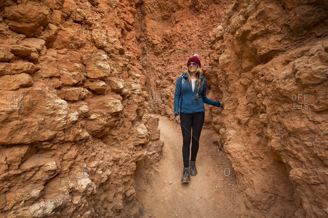 Front view of woman hiking in Bryce Canyon National Park, Utah, USA