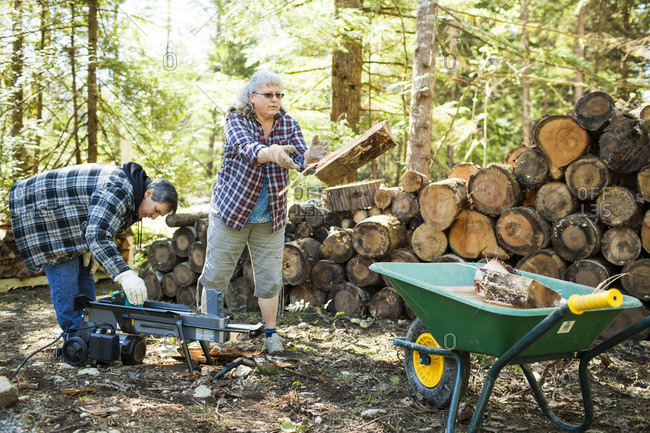 Couple splitting firewood with man using wood splitter machine