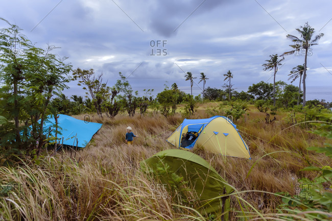 View of campsite with tents in tropical scenery with palm trees, Nusa Penida, Bali, Indonesia