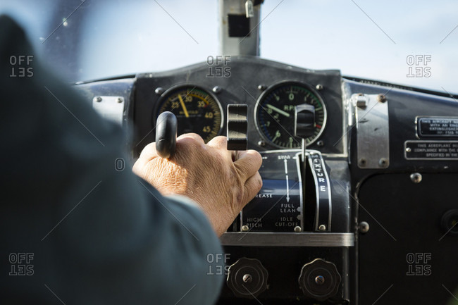 Alaskan bush pilot piloting float plane