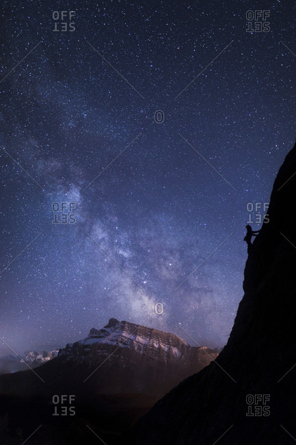 Climber under Milky Way, Banff National Park