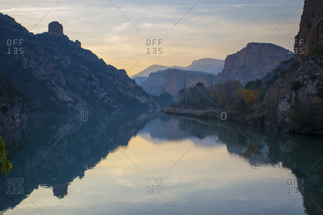 Scenic view of Sant Llorenc de Montgai reservoir at dusk, Lleida, Spain