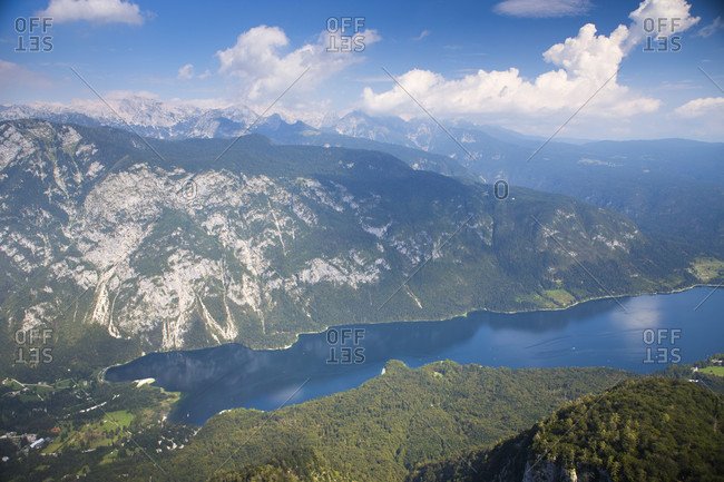 Lake Bohinj as seen from mount Vogel, largest permanent lake located in Bohinj Valley of Julian Alps, Triglav National Park, Slovenia