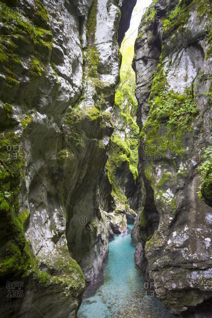 Majestic natural scenery of Tolmin gorge in Triglav National Park, Slovenia