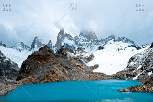Laguna De Los Tres lake and snowy mountain of Monte Fitz Roy, Santa Cruz, Argentina