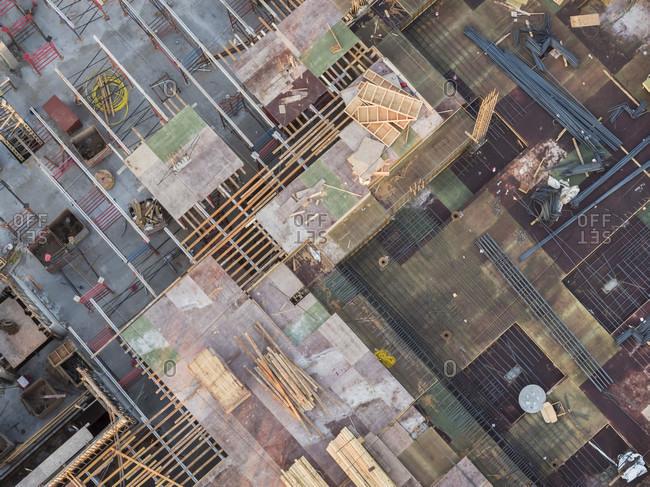 Aerial view of commercial construction site, Atlanta, Georgia, USA