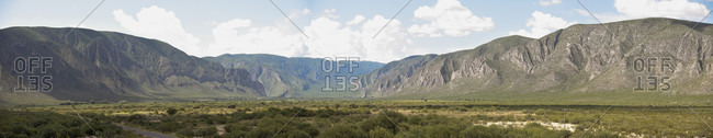 Panorama of landscape with mountains, Canon de Fernandez, Durango, Mexico