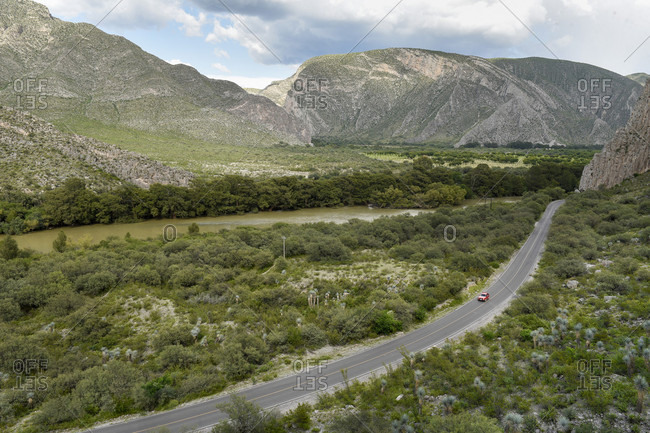Aerial view of road and mountains, Canon de Fernandez, Durango, Mexico