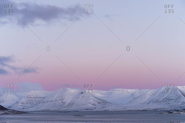 Alpenglow in Westfjords of Iceland