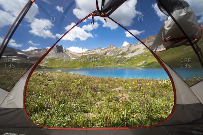 View out of tent at Ice Lake, Silverton, Colorado, USA
