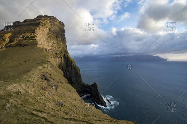 View of sea cliffs, Faroe Islands