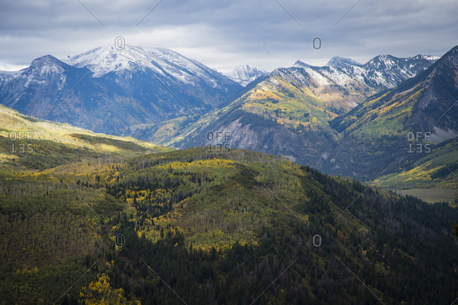 Scenery with mountains, McLurePass, Carbondale, Colorado, USA
