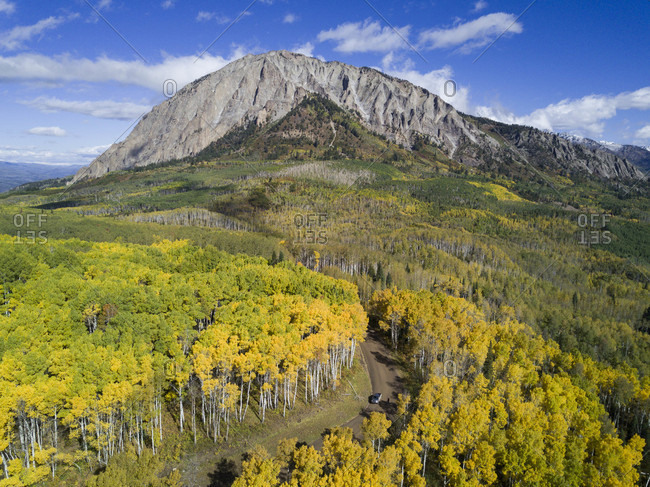 Scenery of mountain and forest in autumn, Kebler Pass near Crested Butte, Colorado, USA