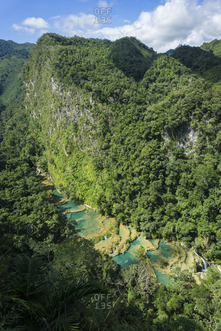Beautiful natural scenery with aerial view of Semuc Champey, Guatemala