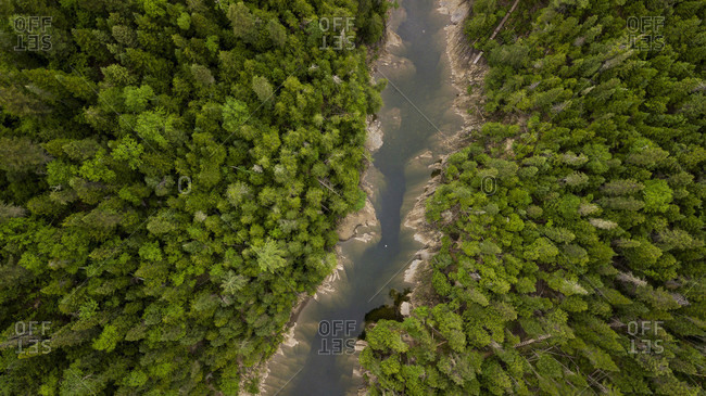 Aerial view of Dartmouth River flowing through forest, Gaspe, Quebec, Canada