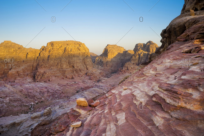 Valley of Petra filled with sandstone carved tombs and temples, Wadi Musa, Maan Governorate, Jordan