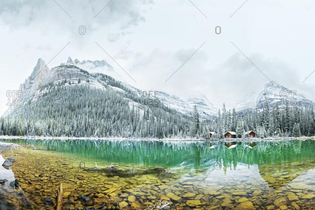 Panoramic photo of Lake O'Hara and lakes cabins in Yoho National Park