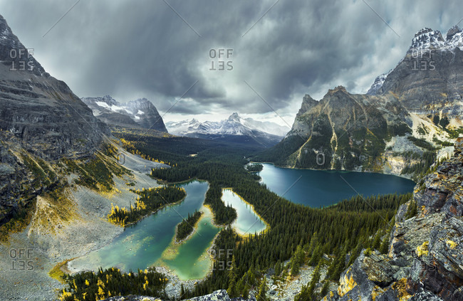 Beautiful natural scenery with view of Lake O Hara and mountains with Cathedral Mountain in distance, Yoho National Park, Field, British Columbia, Canada