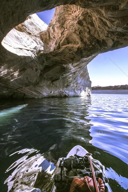 Personal perspective shot of someone paddleboarding on Lake Powell, Utah, USA