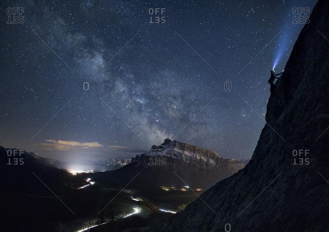 Climber under Milky Way, Banff National Park