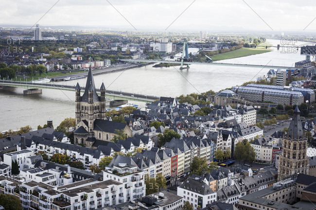 Cologne, Germany - October 15, 2012: A view of the River Rhine from the cathedral