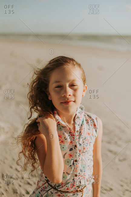 Portrait of girl on vacation at a sunny beach