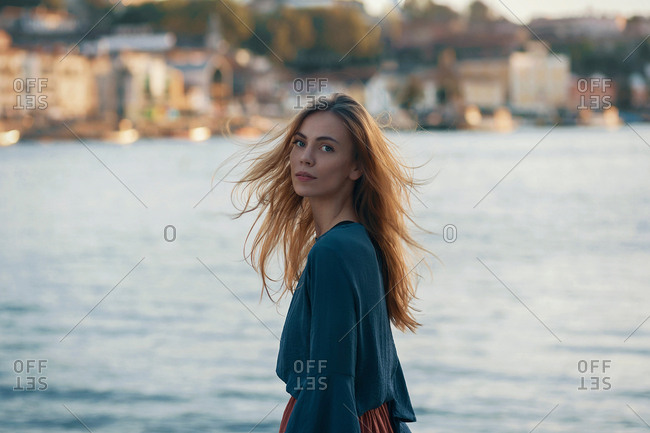 Woman standing at town view